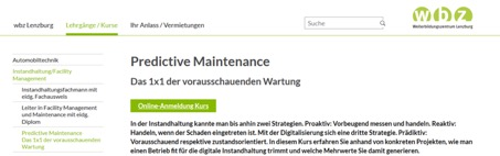 LeanBI AG und Küffer Elektro-Technik AG geben einen Kurs zu Predictive Maintenance am Weiterbildungszentrum wbz Lenzburg (4.9.2020 und 26.11.2020)